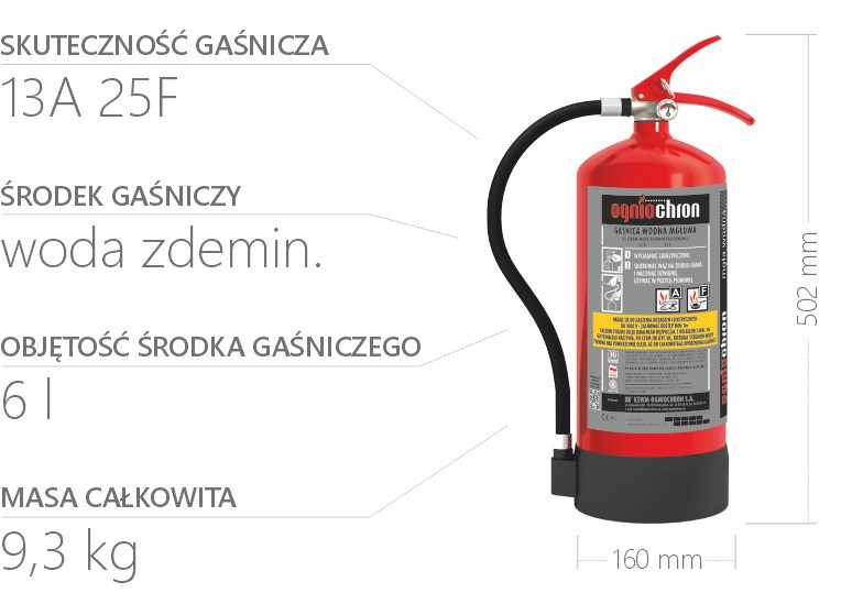 Gaśnica wodna mgłowa 6l - specyfikacja