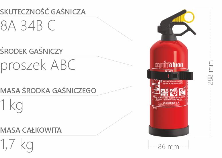 Gaśnica proszkowa 1 kg - specyfikacja