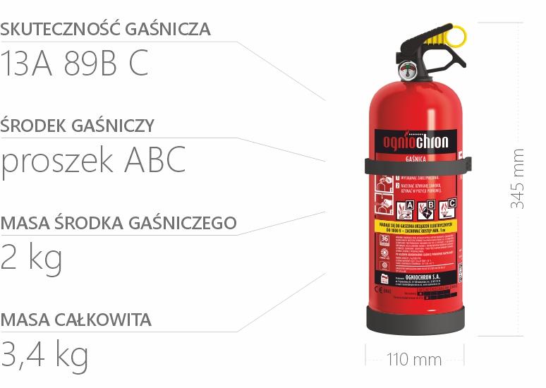 Gaśnica proszkowa 2 kg - specyfikacja