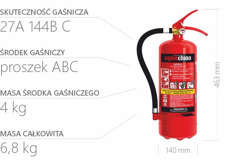 Gaśnica proszkowa 4 kg - specyfikacja
