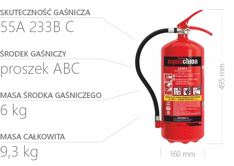 Gaśnica proszkowa 6 kg - specyfikacja